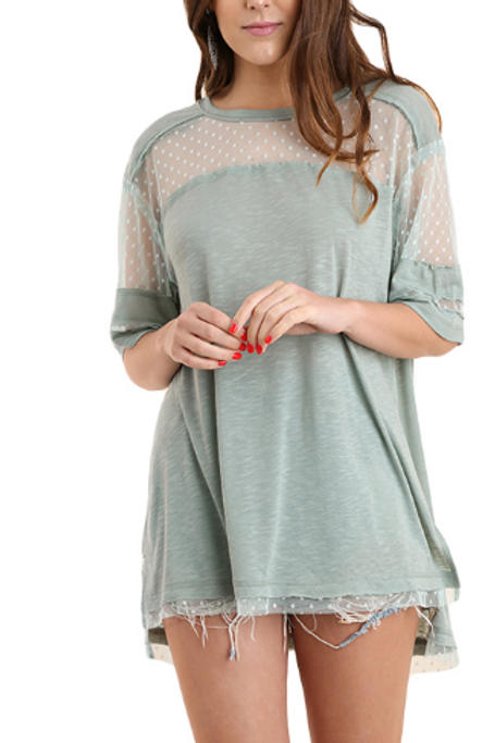 Solid Sheer Polka Dot Yoke Tunic Top