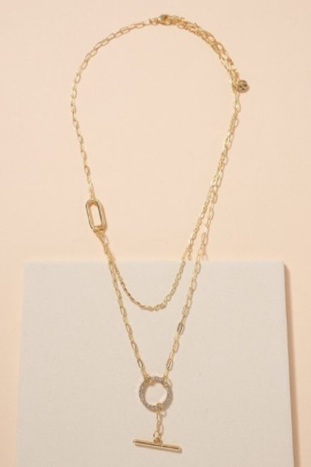 Double Layer Necklace with Circle
