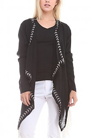Lace-Back DetailCardigan with Fringe
