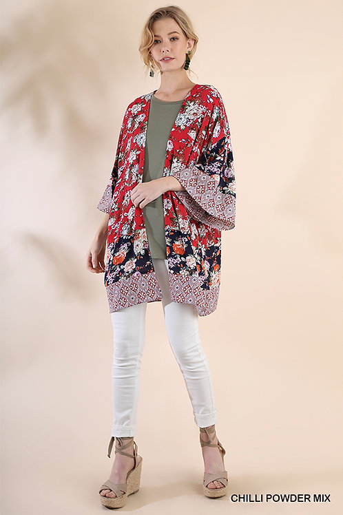 Contrasting Floral and Medallion Print Open Front Kimono