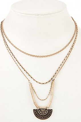 MULTI LAYERED ETCHED CRESCENT PEDNANT NECKLACE