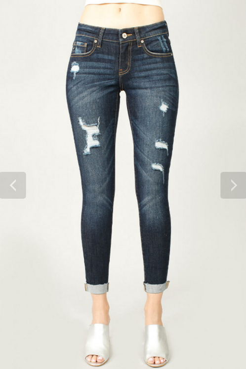 Amy-Distressed Ankle Cut KanCans