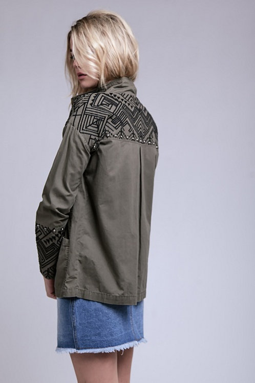 Studded Print Utility Jacket