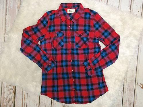 Long Sleeve Plaid Flannel Button Down Shirt