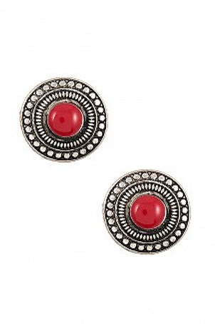 Round Gem Accent Post Earrings