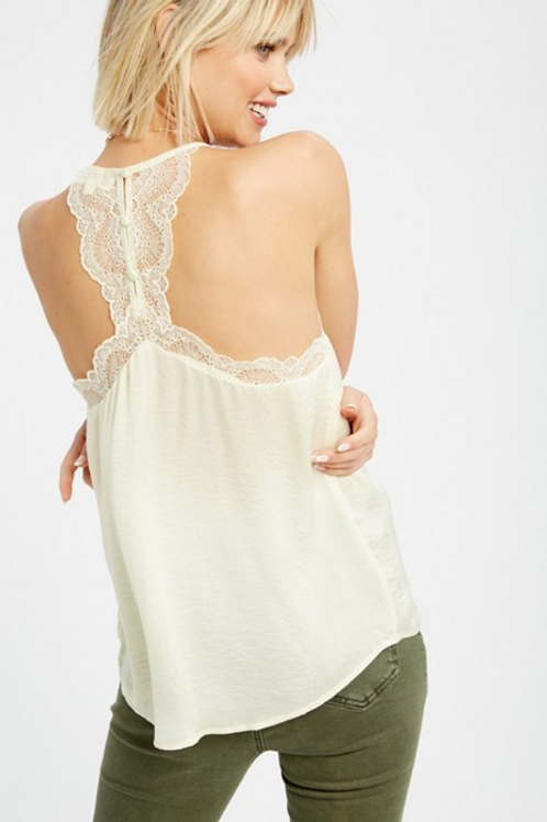 Silky Cami Tank with Lace