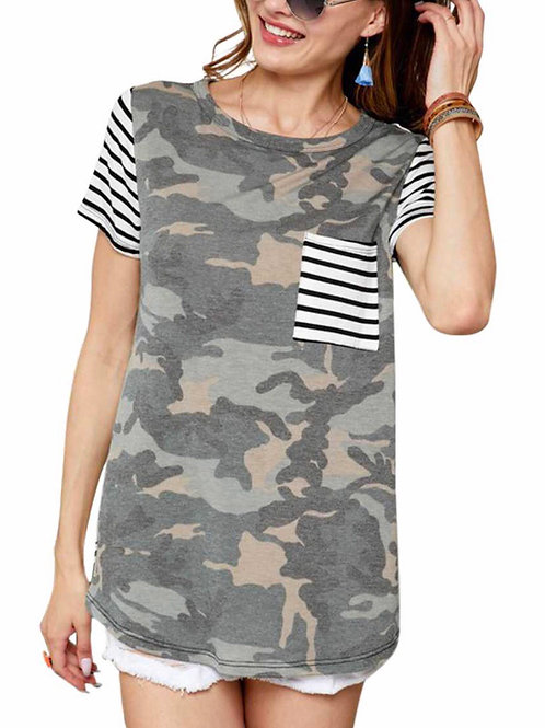 Striped And Camouflage Print Contrast Pocket Detail Top