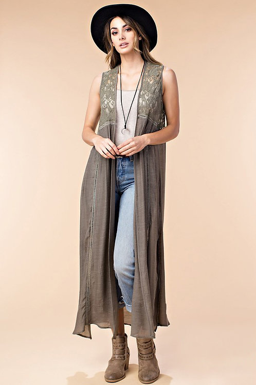 Lace Mix Maxi Cardigan