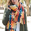 Thumbnail: Patchwork Woven Multicolor Tassel Scarf