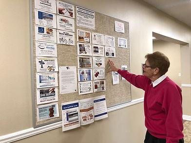 Community bulletin board at Bob Hope Village