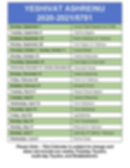 5781 - Ashreinu Yearly Schedule 2020_21.