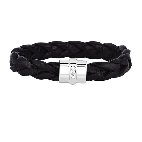 Large Black Woven Leather Bracelet