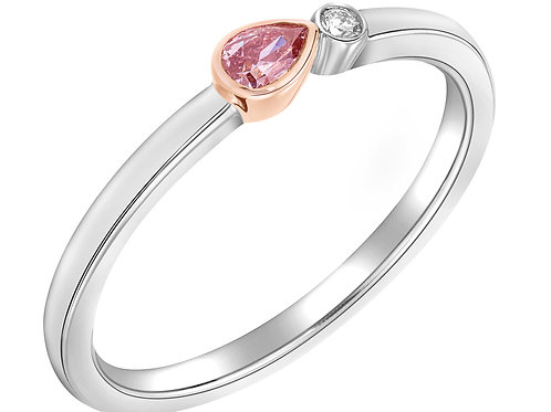 Fancy Pink Pear Shape Stackable Ring