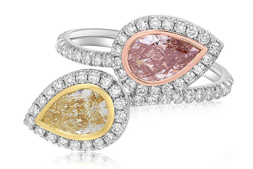 Pink and Yellow Diamond Bypass Ring