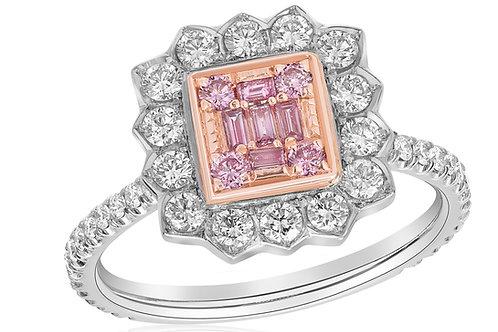 Pink Baguette Flower Ring