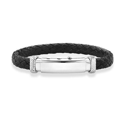 Polished Bar Leather Bracelet