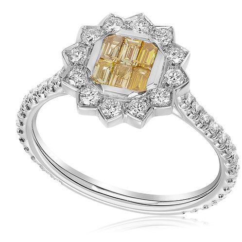 Fancy Vivid Yellow Baguette Flower Ring