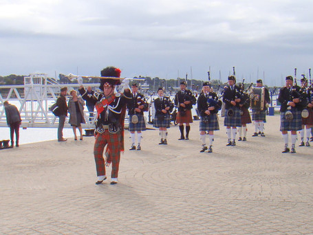 St Andrews Pipe Band on the hard at Hamble le Rice for the opening of the Hamble Food Festival.