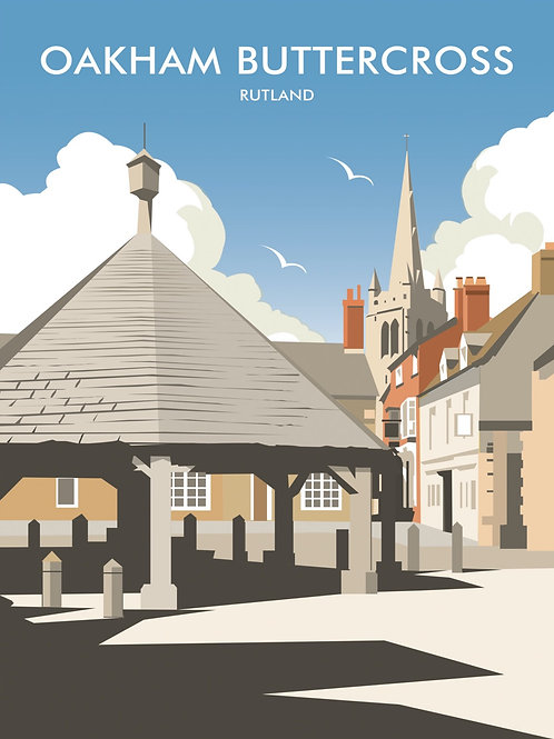 Oakham Buttercross tea towel