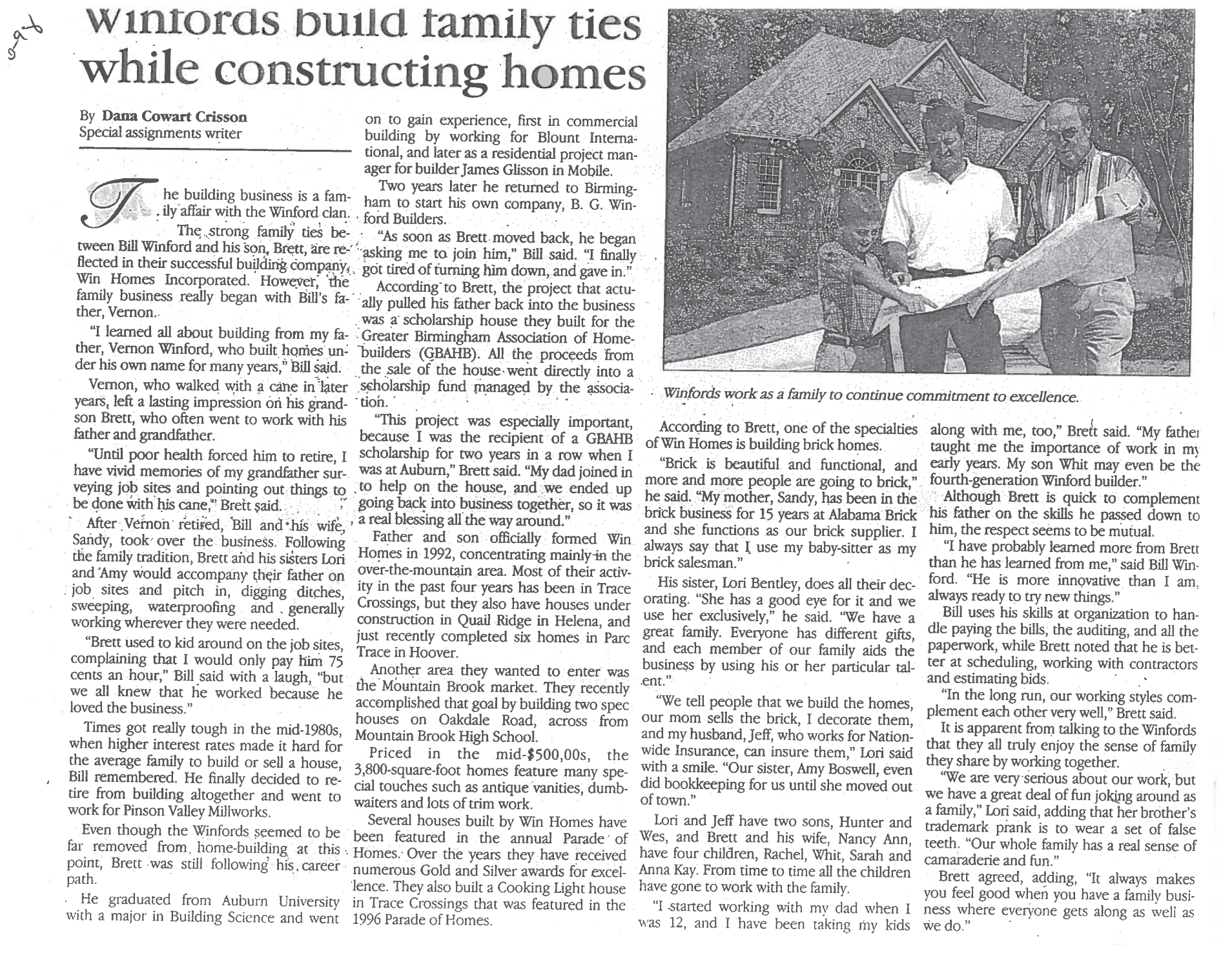 1998 Winford Family Ties Clipping