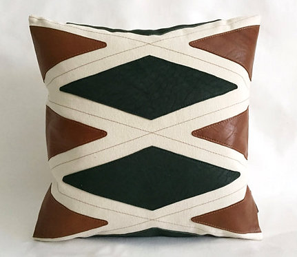 Cognac leather pillows