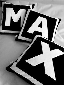 Black and white velvet pillows