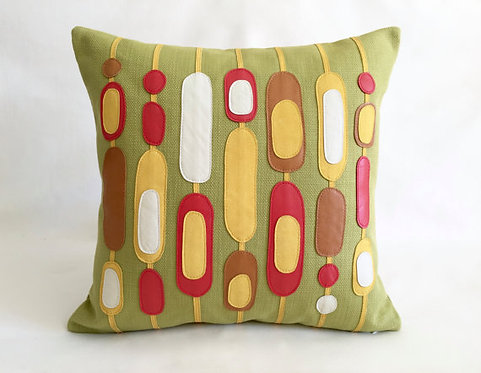 Green yellow retro pillows