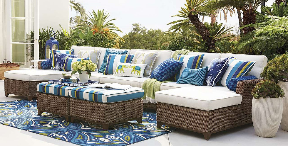 White replacement cushions for patio
