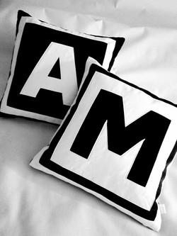 Black and white Monogram pillows