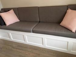 Light grey window seat cushions