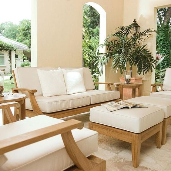 White outdoor patio cushions