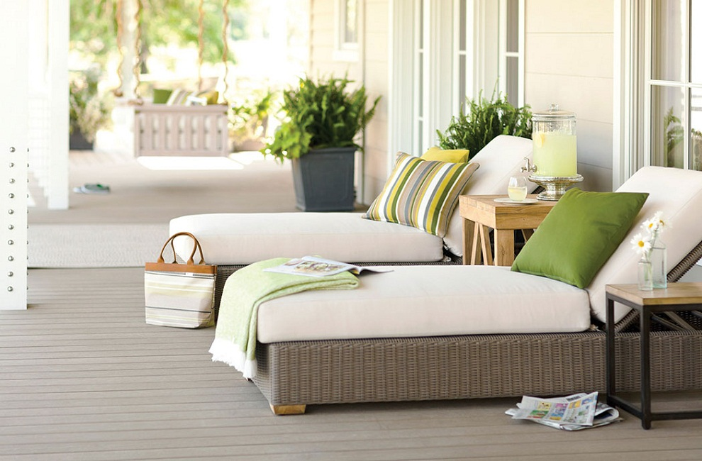 White Sunbrella deck Cushions