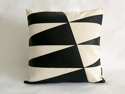 Black and white leather pillows