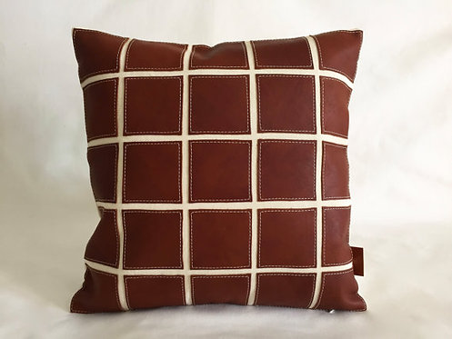 Brown leather pillows