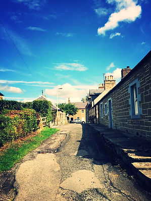 country village lane, cute cottages,