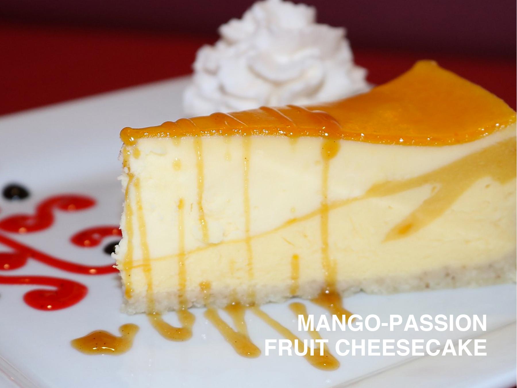 MANGO-PASSION FRUIT CHEESECAKE