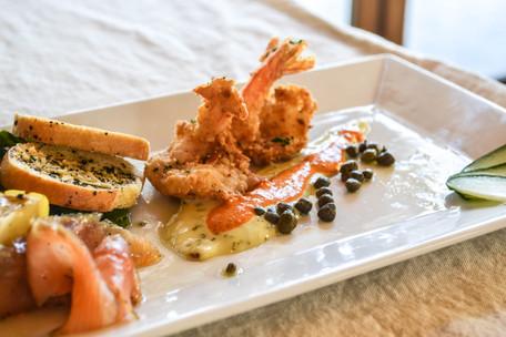 Fried Shrimp & Salmon Gravlox Appetizer at Mutu's Italian Kitchen
