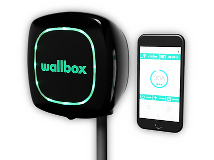 EV Charging Solutions Wallbox Black with Iphone