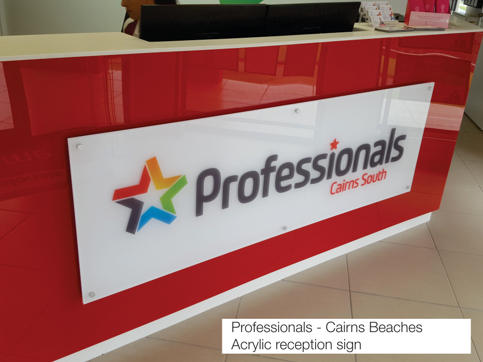 Professionals Cairns Beaches - Acrylic reception sign Cairns Signs