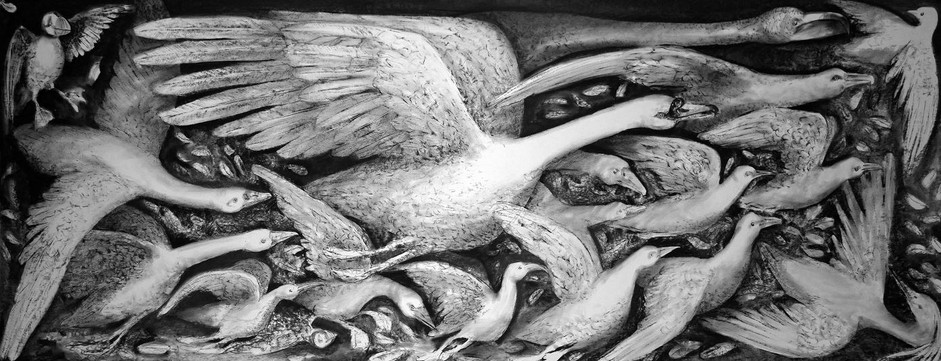 Flock | 240 x 90 cm | Charcoal on card | Pete Codling