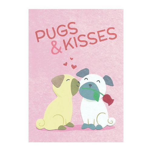 Pugs and Kisses | Greetings Card