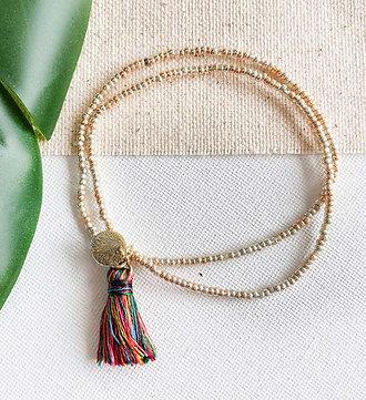 Gold Coast Tassel Bracelet   Multi