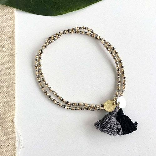 Gold Coast Tassel Bracelet | Black