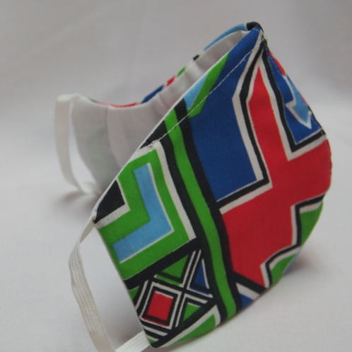 3 Layer Reusable Ndebele Style Face Mask (with Filter)