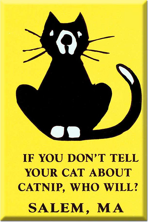IF YOU DON'T TELL YOUR CAT ABOUT CATNIP WHO WILL? SALEM MAGNET