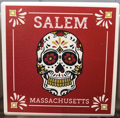 Red Sugar Skull Ceramic Coaster