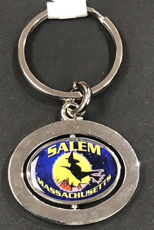 SALEM MA FLYING WITCH METAL (SPIN) KEYCHAIN