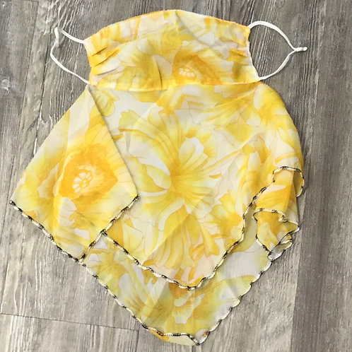 YELLOW FLORAL SILKY SCARF FACE MASK
