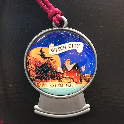 WITCH CITY SALEM, MA (GABLES) PEWTER ORNAMENT