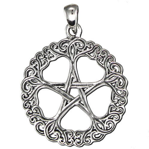 Sterling Silver Rose Pentacle Pendant